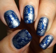 MoYou Nails Stamping Plate 223 in navy blue. #nailart #nails #mani #polish - For more nail looks or to share yours, go to bellashoot.com