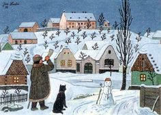 Josef Lada - Ponocný a sněhulák, 1955 - winter session Winter Illustration, Children's Book Illustration, Christmas Shows, Christmas Cards, Holly King, Classic Paintings, Naive Art, Winter Solstice, Winter Scenes