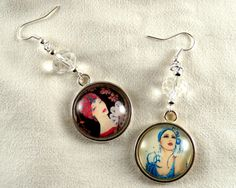 Asymmetrical earrings Retro Ladies,silver shades and glass cabochons by CapricesDeParisienne on Etsy