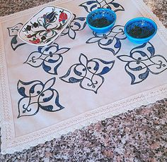 45x45cm Blue Hand Block Printed Cream Tablecloth Topper Cover Ottoman Prints Authentic Traditional Handcrafted Turkish Lace Trimmed by JIJIMA on Etsy