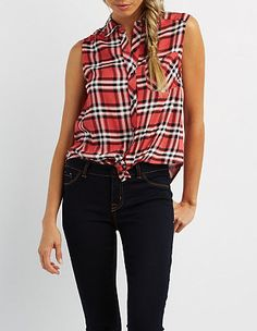 Designer Clothes, Shoes & Bags for Women Teen Fashion, Fashion Tips, Fashion Trends, Plaid Shirt Outfits, Charlotte Russe Tops, Sleeveless Shirt, Racerback Tank, My Style, Shirts