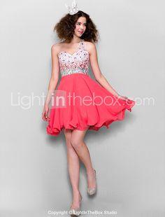 0e5ad9197ba53cc [$79.99] A-Line One Shoulder Short / Mini Chiffon Homecoming Prom Dress  with Beading by TS Couture®. Платья Для Выпускного ...