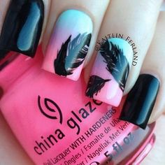 Ombre n feather nails