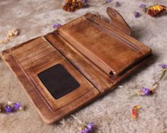 Vintage Leather Wallet Women Wallet Handmade by MagicLeatherStudio