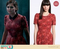 Clara's red printed dress with black collar on Doctor Who.  Outfit details: http://wornontv.net/16140/