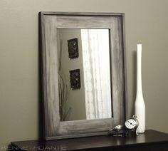 Modern Rustic Wood Mirror Streaky Weathered Farmhouse Barn Decor Grey White. $189.00, via Etsy.