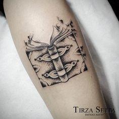 Dotwork Book Tattoo by Tirza Setta