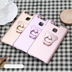 Case Huawei P9 Aiqaa Gloss Hard PC + Teddy Bear Lazy Ring Stand - for girls -