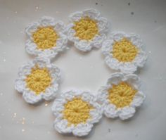 Crochet Applique Yellow and White Daisy Flowers UK by HeloiseV