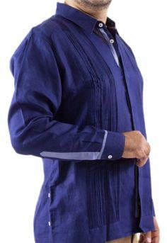 8ad68bb643cc8 Guayabera de Lino Azul con Mora Camisas Hombre