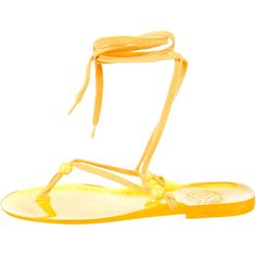 Pre-owned See by Chloé Sandals (3.360 RUB) ❤ liked on Polyvore featuring shoes, sandals, yellow, beaded sandals, yellow sandals, rubber shoes, strap sandals und see by chloe sandals