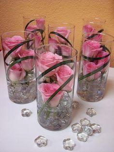 submerged flower centerpieces | Single Glass Vase Wedding Centerpiece – Flower Vase Centerpieces