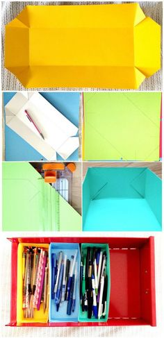 Organize desk drawers in minutes with this quick DIY solution(Diy Paper Organizer) Rangement Art, Cardboard Crafts, Cardboard Boxes, Desk With Drawers, Diy Desk, Craft Organization, Diy Storage, Diy Paper, Getting Organized