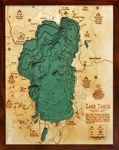 Laser cut contour maps of rivers, lakes and seas - Lake Tahoe