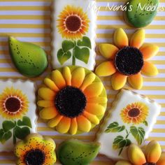 Decorated Sugar Cookies   |   Stenciled Sunflowers  | Air Brushed Sunflowers   | Country Whimsical Stitching Sunflowers