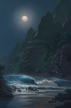 The Full Moon & The Ocean