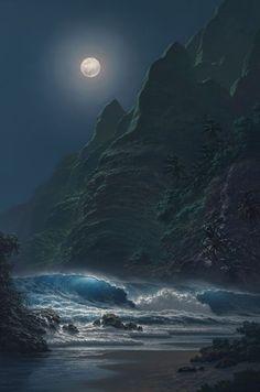 The Full Moon & The Ocean