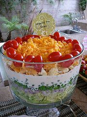 Layered Pea salad ~ if you don't have a trifle bowl, you can layer this salad in a regular bowl or a 13x9 inch pan