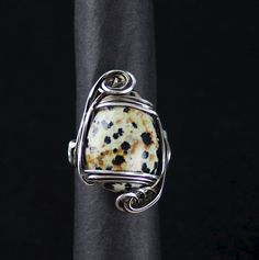 Sterling Silver Stone Ring Dalmatian Jasper Jasper, Jewelery, Unique Gifts, Cufflinks, Gemstone Rings, Artisan, Arts And Crafts, Bling, Sterling Silver