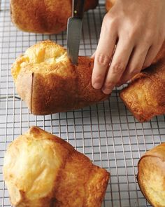 Popovers lose their crunch if they linger in the pan, so turn them out on a wire rack immediately and poke a small opening in the side of each with a paring knife to let the steam escape. Serve right away.Try all of our popover variations: Gruyere-Thyme Popovers, Dark Chocolate Popovers, Chive Popovers, Cinnamon Sugar Popovers, Bacon and Black Pepper Popovers, and Orange Popovers.