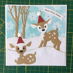 T T christmas deer Die Cut Christmas Cards, Christmas Deer, Xmas Cards, Handmade Christmas, Christmas Ornaments, Marianne Design Cards, Animal Puzzle, Baby Deer, Die Cut Cards