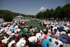 Image detail for -Bosnian Muslims pray near coffins in the Memorial Center at Potocari during a mass burial, near Srebrenica July 11, 2012. The bodies of 520 recently identified victims of the Srebrenica massacre are buried