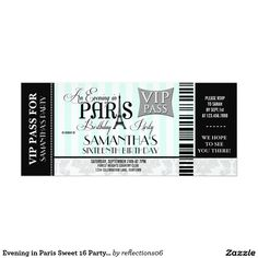 Evening in Paris Sweet 16 Party Invitations by another Zazzle designer