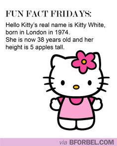 b for bel: Fun Fact Fridays: Hello Kitty's real name!