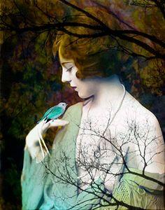 Fine Art Giclee Print, Collage, Painted Photograph, 8x10 Print, Woman Portrait, Photomontage, Collage,  Nature, Figurative Art,