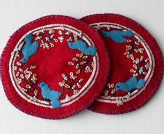 Handmade Wool Blue Birds Mug Mats