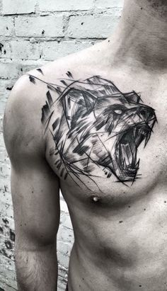 Home - Tattoo Spirit - Cooles Sketchart Bären Tattoo auf der Brust. Bear Tattoos, Wolf Tattoos, Animal Tattoos, Body Art Tattoos, Sleeve Tattoos, Tatoos, Tribal Bear Tattoo, Geometric Bear Tattoo, Tattoos Masculinas