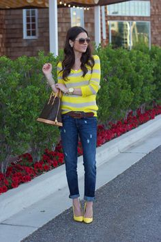 Love the yellow shoes matching the yellow in the top.@Mindy Burton heck we have this sweater!!