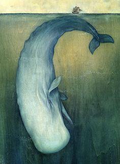 Moby Dick ©Lisel Jane Ashlock, Artist.  Wonderful Illustration! Whale. Sea. Ship.