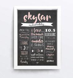 First Birthday Chalkboard Sign Digital Poster by LittleOakInk