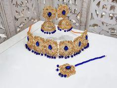 Royal Blue Maharani Choker Set with Blue beads
