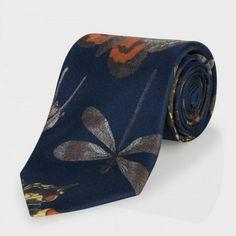 Paul Smith Men's Ties - Navy Insect Print Silk Tie