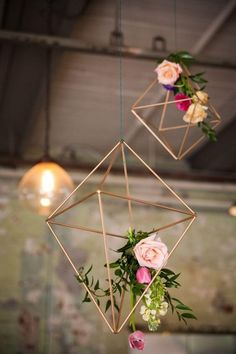 Geometric copper contemporary hanging chandeliers and lanterns. Industrial inspiration for pulling off the most perfect modern, minimalist palette for your Big Day!