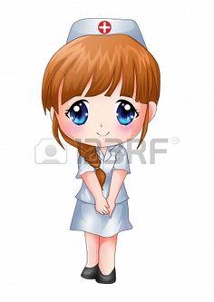Cute cartoon illustration of a nurse