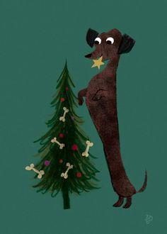 Dachshund Puppies Put a star ⭐️ on top of the Christmas tree Dachshund Breed, Dachshund Art, Daschund, Vintage Dachshund, Christmas Dog, Vintage Christmas, Christmas Dachshund, Christmas Sweaters, Popular Dog Breeds