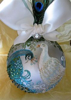 Peacocks in fine glitter and Swarovski crystal and pearls and handpainted