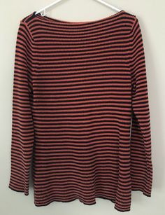 Ralph Lauren SWEATER XL Boatneck Orange Black Striped Knit #RalphLauren #Boatneck