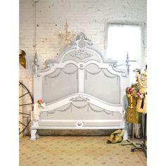 Painted Cottage Shabby Chic French Bed King Queen (13,100 CNY) ❤ liked on Polyvore featuring home, furniture, beds, bedroom furniture, beds & headboards, home & living, silver, painted beds, paris bed and painted furniture