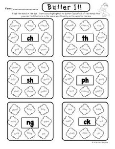 """Butter It Chunks - Blends and Digraphs - This activity can be used in centers and word work. Students have to hunt for blends and digraphs in words and then """"butter"""" them. (Kindergarten and First Grade Word Work) $"""