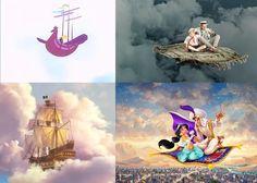 способы победить гравитацию с помощью ковров и кораблей в сказках: летучий корабль из советского мульта, корабль, летающий с помощью пыльцы фей, Старик Хоттабыч и Алладин на коврах-самолетах