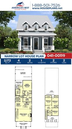 Delivering 2,172 sq. ft., Plan 041-00119 has 4 bedrooms, 2.5 bathrooms, a loft area, a kitchen island, and a 2 car garage. Visit our website to see more about this Narrow Lot house plan. #narrowlots #buildingonanarrowlot #narrowhomes #narrowhouseplans #houseplans #homeplans #buildahome #homebuilding #americasbesthouseplans Narrow Lot House Plans, Best House Plans, House Floor Plans, Urban City, Bedroom Loft, City Living, Car Garage, Square Feet, Great Rooms