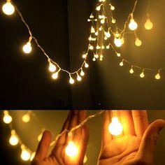 AmazonSmile: Dailyart Globe String Light,LED Starry Light Fairy Light for Wedding,Xmas Party (Warm White, Battery-powered, 13feet/4meters): Home Improvement