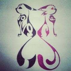 Tribal Heart Espeon and Umbreon by unknownTHEkid on DeviantArt