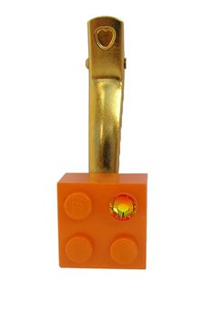 Orange LEGO R brick 2x2 with an Orange by MademoiselleAlma #MademoiselleAlma #LEGO #ETSY