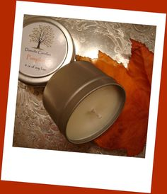Pumpkin Scented Soy Travel Tin  4 ounces by DanvilleCandles, $6.95