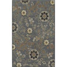 KORHANI home Lantana Rectangular Grey Floral Area Rug